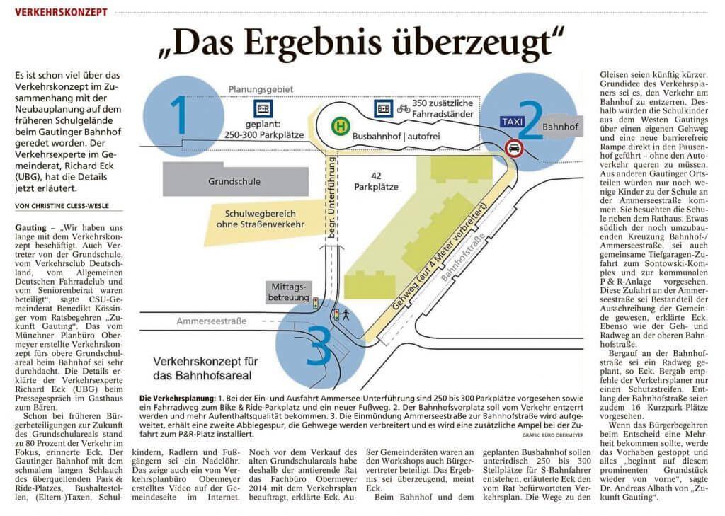 Merkur-Artikel über Verkehrskonzept am Gautinger Bahnhof
